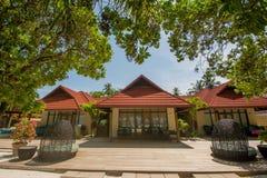 Роскошная красивая вилла на экзотическом пляже расположенном на тропическом островном курорте Стоковое Изображение RF