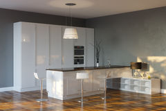 Роскошная кухня Высок-техника с серыми стенами и баром стоковая фотография
