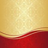 Роскошная орнаментальная предпосылка: золото и красный цвет. иллюстрация штока
