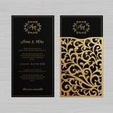 Роскошная поздравительная открытка приглашения или свадьбы с винтажным флористическим o иллюстрация вектора