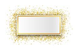Роскошная предпосылка торжеств с падая частями металлического яркого блеска и confetti золота Стоковые Фотографии RF