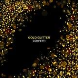 Роскошная предпосылка торжеств с падая частями металлического яркого блеска и confetti золота Стоковая Фотография