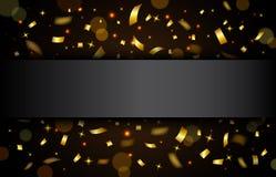 Роскошная предпосылка торжеств с падая частями металлического яркого блеска и confetti золота Стоковые Изображения