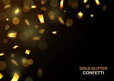 Роскошная предпосылка торжеств с падая частями металлического яркого блеска и confetti золота Стоковая Фотография RF