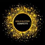 Роскошная предпосылка торжеств с падая частями металлического яркого блеска и confetti золота Стоковое Изображение
