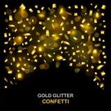 Роскошная предпосылка торжеств с падая частями металлического яркого блеска и confetti золота Стоковое фото RF