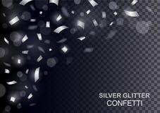Роскошная предпосылка торжеств с падая частями металлического серебряного яркого блеска и confetti Стоковые Фото