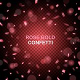 Роскошная предпосылка торжеств с падая частями металлического розового яркого блеска и confetti золота Стоковые Изображения