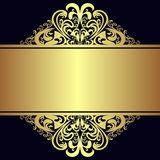 Роскошная предпосылка с королевскими золотыми границами и лентой Стоковые Фотографии RF