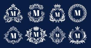 Роскошная рамка вензеля Орнаментальные вензеля, heraldic орнамент логотипа инициалов и элегантная граница писем обрамляют вектор иллюстрация вектора