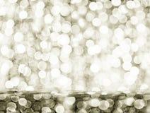 Роскошная серебряная предпосылка bokeh светов рождества Размещение продукта стоковые фотографии rf