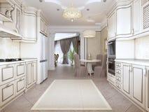 Роскошная современная кухня в классическом стиле в белых цветах с обеденным столом для 4 людей иллюстрация штока