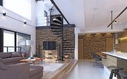 Роскошная современная просторная квартира Стоковые Изображения