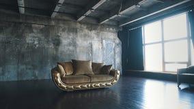 Роскошная софа в современном interio В темных тонах и тенях золота сток-видео