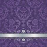 Роскошная фиолетовая флористическая граница серебра крышки штофа Стоковое Изображение