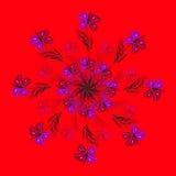 Роскошная фиолетовая флористическая орнаментальная мандала на красном цвете Стоковое фото RF