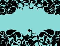 Роскошная флористическая рамка с предпосылкой бирюзы Стоковые Фото