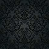 Роскошная черная картина флористических обоев угля Стоковые Изображения