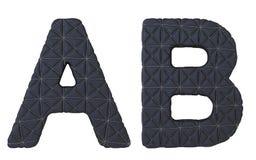 Роскошная чернота сшила кожаные письма шрифта a b Стоковые Изображения RF