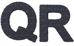 Роскошная чернота сшила кожаные письма шрифта q r Стоковое Изображение RF