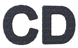 Роскошная чернота сшила кожаные письма c d шрифта Стоковые Изображения RF