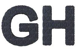 Роскошная чернота сшила кожаные письма g h шрифта Стоковые Фото