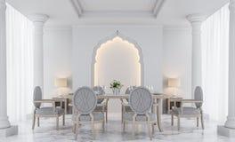 Роскошное белое изображение перевода столовой 3D Стоковые Изображения