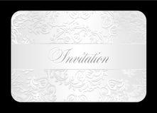 Роскошное белое приглашение свадьбы с округленным шнурком Стоковые Фото