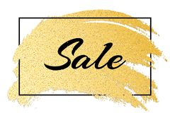 Роскошное модное знамя для продажи Черный текст в рамке Линия нарисованная рука Grunge Яркие блески золота Сияющий мазок Роскошна Стоковое фото RF