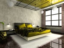 роскошное спальни нутряное Стоковые Изображения