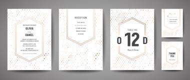 Роскошное спасение свадьбы дата, собрание карточек приглашения с точками польки сусального золота и логотип вензеля конструирует  иллюстрация вектора