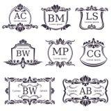 Роскошные вензеля логотипа с декоративными элементами и письмами орнамента вектор комплекта сердец шаржа приполюсный иллюстрация вектора