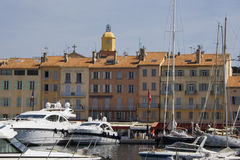 роскошные гаван яхты tropez святой Стоковое фото RF