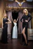 Роскошные девушки в платьях вечера в красивом Стоковая Фотография RF