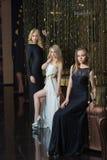 Роскошные девушки в платьях вечера в красивом Стоковые Изображения RF