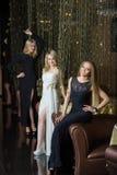 Роскошные девушки в платьях вечера в красивом Стоковая Фотография