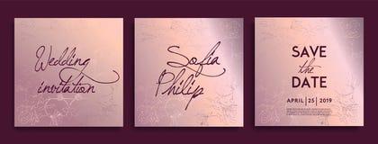 Роскошные карты приглашения свадьбы с флористическим и травами золота декоративное Элегантный набор рамки приглашения свадьбы иллюстрация штока