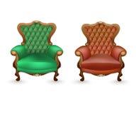 Роскошные кресла на белой предпосылке, антиквариаты иллюстрация вектора