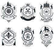 Роскошные heraldic шаблоны эмблемы векторов Blazons вектора первоклассно иллюстрация штока