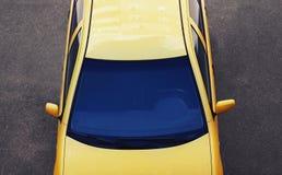 Роскошный автомобиль спорт Автомобиль взгляд сверху, крыша, предпосылка клобука лобового стекла на дороге Стоковая Фотография RF