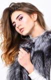 Роскошный аксессуар меха концепция тенденции моды Шкаф зимы модный Серебряная одежда моды жилета меха щедрот стоковое фото rf