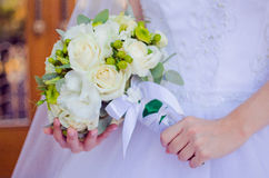 Роскошный букет белых роз Стоковая Фотография