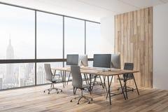 Роскошный деревянный coworking офис иллюстрация вектора