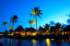 Роскошный заход солнца в Маврикии стоковое изображение rf
