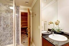Роскошный дизайн интерьера ванной комнаты с сауной Стоковое Фото