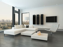 Роскошный интерьер живущей комнаты с огромными окнами Стоковое Изображение