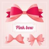 Роскошный комплект собрания розовых лент и смычков для украшения и дизайна Стоковые Изображения