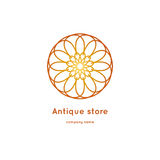 Роскошный логотип для античного магазина Объемный золотой большой бутон kaleidoscope Стоковое Изображение