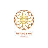 Роскошный логотип для античного магазина Объемный золотой большой бутон kaleidoscope Стоковые Изображения RF