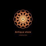 Роскошный логотип для античного магазина Объемный золотой большой бутон kaleidoscope Стоковая Фотография
